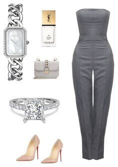 """Без названия #2889"" by newyorkstylrer ❤ liked on Polyvore featuring Chanel, Alexander McQueen, Christian Louboutin, Yves Saint Laurent and Valentino"