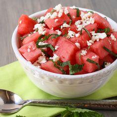 Watermelon Feta Salad Recipe Salads with watermelon, rice vinegar, feta cheese crumbles, fresh mint, sea salt, freshly ground pepper