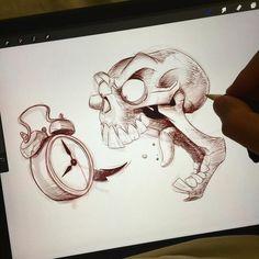 Cartoon Monsters, Cartoon People, Halloween Art, Wake Up, Appreciation, Skull, Drawings, Instagram Posts, Sketch
