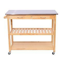 "HomCom 44"" Rolling Steel Top Wooden Storage Cart Kitchen Trolley w/ Drawers"