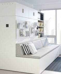 The Rognan combines Ori's Robotic Platform and IKEA's existing Platsa Storage Solution for Flexible in Compact Homes at the Touch a Button. Small Living Room Layout, Living Room Colors, Small Living Rooms, Living Spaces, Ikea Storage Bed Hack, Ikea Hack, Living Room Paint, Living Room Decor, Small Apartments