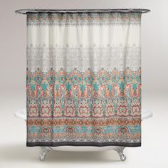 Our shower curtain features a delicate multicolor paisley medallion pattern with a hand-sketched look and a dark gray border that lends a chic appeal to your bathroom decor.