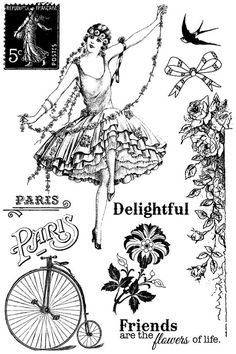 Divine Set of Cling Stamps by Jodie Lee for Prima Marketing 950545