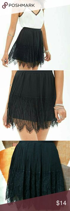 NWOT Forever F21 Pleated Eyelash Lace Mini Skirt NWOT Forever 21 pleated eyelash lace mini skirt. Lined. All over pleats. Size Small. Approximate measurements of skirt are Waist 25 inches and Length 16 inches. Stretchy elastic waistband. Excellent condition. Forever 21 Skirts