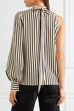 MSGM - One-shoulder Striped Silk Crepe De Chine Top - Off-white - IT42