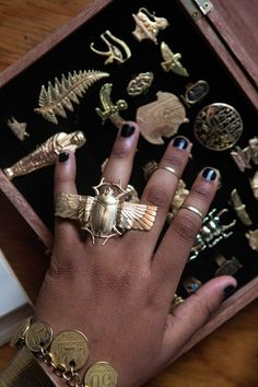 I'm alllll about it.You can find Egyptian jewelry and more on our website. Egyptian Era, Ancient Egyptian Jewelry, Egyptian Scarab, Egyptian Costume, Art Deco Jewelry, Jewelry Design, Cute Rings, Handmade Rings, Crystal Jewelry
