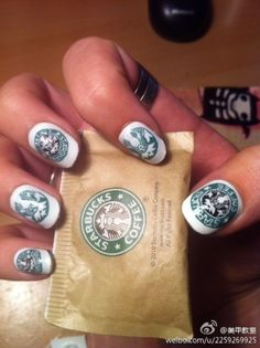 Starbucks nails...probably stamped ... lol have to be. they are perfect!