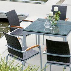 Zuni 5 Piece Dining Set Outdoor Wicker Patio Furniture, Outdoor Dining, Dining Table, Outdoor Decor, Teal Cushions, 5 Piece Dining Set, Modern, Design, Home Decor