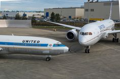 @united #airlines from #then to #now  #avgeek #avgeeks #airplanes #aviation #boeing #787 #future