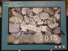 Stampin up adventure awaits stamp set and adventure bound paper stack. graduation card. occasions catalog