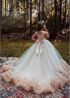Romantic Tulle Bateau Neckline Cap Sleeves Ball Gown Flower Girl Dresses With Beadings & Belt & Bowknot