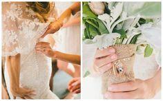 vintage, lake convict wedding, lace wedding dress, outdoor wedding inspiration, burlap bouquet, dusty miller