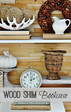 Looking for an easy way to update a bookcase?  Make a rustic back from wood shims!  A package of shims is only $3.99 from Lowe's. Happy inexpensive new year. :)  thistlewoodfarms.com