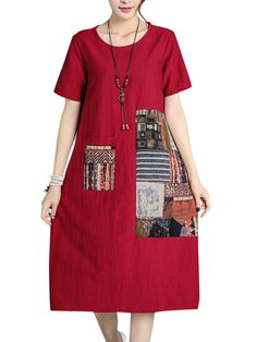 Chinese Style Printed Pocket Short Sleeve Dresses For Women