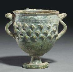 A ROMAN LEAD-GLAZED CHALICE CIRCA 50 B.C.-50 A.D.