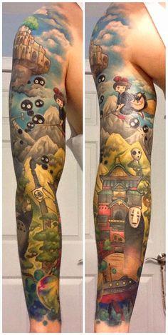 Holy crap, look at this guy's amazing Miyazaki sleeve tattoo