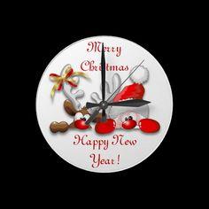 #Funny #Santa and #Reindeer #Cartoon #Wall #Clock > http://www.zazzle.com/funny_santa_and_reindeer_cartoon_wall_clock-256384509736524537#