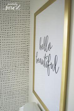 "Free ""hello beautiful"" printable - perfect for a girl's bathroom!"