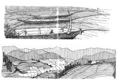 Beautiful landscape abstraction drawing on bottom. Often an abstraction is the tool to reveal more information about a landscape.  Travel Sketches - Peter Rich