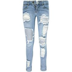 Boohoo Lea Low Rise Ripped & Distressed Boyfriend Jeans | Boohoo ($44) ❤ liked on Polyvore featuring jeans, pant, destroyed jeans, destructed jeans, blue jeans, boyfriend jeans and destruction jeans