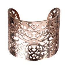 Stainless Steel Rose Gold Filigree Leaf Pattern Cuff Bangle Bracelet