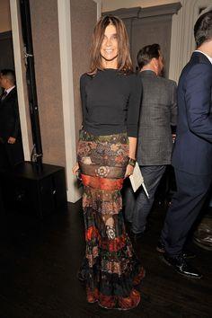 Carine Roitfeld. NYFW. Givenchy skirt.