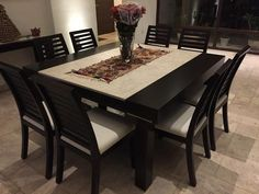 Decor Units: 30 Comfort & Contemporary Brown Wood Tables With Chairs & Furniture Black Dining Room Table, 8 Seater Dining Table, Wooden Dining Tables, Modern Dining Table, Dining Room Sets, Dinning Table Centerpiece, Dinning Table Design, Dressing Table Design, Dining Furniture