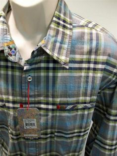 ROBERT GRAHAM  Serg's Fantasy Teal Blue Check Embroidered Shirt XXL