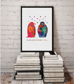 Penguins Watercolor Print Wall Art Quote Poster by MimiPrints