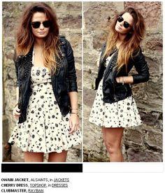 Vestido e jaqueta de couro