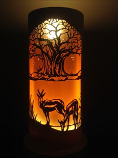 Baobab and springbok Kirigami, Dremel, Animal Stencil, Pvc Pipe Projects, Shadow Box Art, Laser Cut Metal, Led Diy, Art N Craft, Pipe Lamp