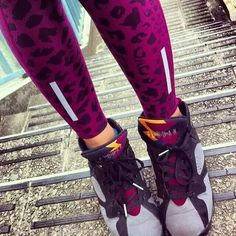 Normally not into Jordans but i really like these...the colors...those leggings ❤ The Nike Air Jordan 7 Bordeaux.