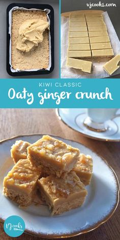 Ginger Crunch Slice Recipe Is Perfect Blend Of SweetSpicy is part of Slices recipes - This Ginger Crunch Slice Recipe is a famous New Zealand favorite, and sure to become one in your kitchen too! Get the full recipe here Tray Bake Recipes, Baking Recipes, Cake Recipes, Dessert Recipes, Desserts, Kiwi Recipes, Brownie Recipes, No Bake Slices, Cake Slices