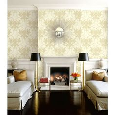 Seabrook Wallpaper ON40705 - Opulent - Damask design wallcovering in a living room photo