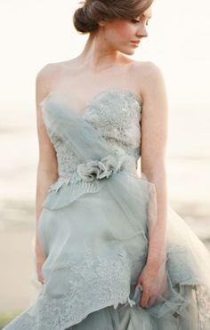 96289b5066 Photo by When He Found Her, Featured on Wedding Sparrow, Colored Wedding  Dress, Blue Gray Wedding Dress, Coastal Wedding