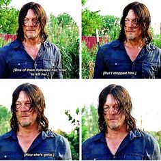 "Daryl asking Morgan about Carol. The Walking Dead S07 E09 ""Rock in the Road."" Season 7, Episode 9."