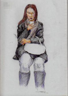 ロングブーツのお姉さん It is a sketch of a woman wearing long boots.  I drew on the train going to work.