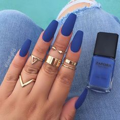 Living for this shade tho @zaporaofficial #nailpolish in the color (Denim Diva) use code 'glambymeli' for 10% off ~  @sally_hansen big matte top coat ~ Rings @forever21 ~ Follow me on  #Snapchat GLAMBYMELI :::::::::::::#glambymeli#zaporanaillacquer #nails #nailstagram #nailswag #nails2inspire #nailsoftheday #ignails #bblogger #naillove #sallyhansen #hudabeauty #accessories #rings #vegas_nay #bluenails #naillovers #nailsofinstagram #denim #mattenails #nailsoftheday #nai...