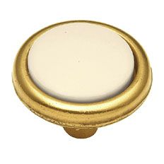 Belwith Keeler 1 1/4 inches Cabinet Knob with Porcelain Insert  Light Almond