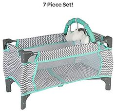 Adora Baby Doll Crib Zig Zag Deluxe Pack N Play, Fits Dolls up to 20 inches, Bed/Playpen/Crib, Changing Table, Mobile with 3 Clouds and Storage Bag Baby Doll Diaper Bag, Baby Doll Carrier, Baby Doll Nursery, Baby Doll Furniture, Grey Crib, Diaper Changing Station, Bff Birthday Gift, Pack And Play, Baby Shower Gifts For Boys