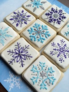 snowflake cookies, decorated sugar cookies
