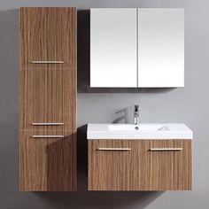Hardwood Single Sink Bathroom Vanity Design with Mirror and ...