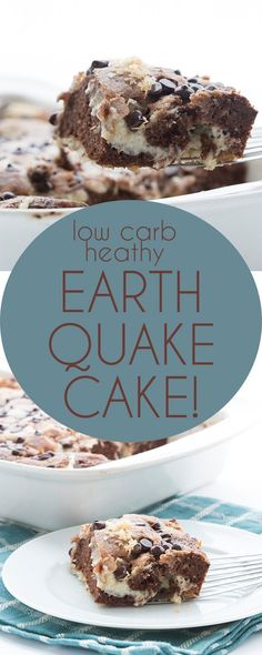 Low Carb Chocolate Earthquake Cake! Your new favorite easy keto chocolate cake recipe. Delicious layers of tender almond flour chocolate cake mixed up with sugar free cream cheese frosting. THM Banting recipe.