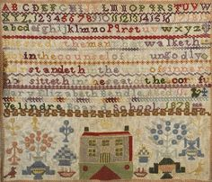 An example of a 19th century sampler, embroidered by Mary Elizabeth Bendle, who was aged 11 when she completed it. The text reads; 'Blessed is the man that walketh not in the counsel of the ungodly, nor standeth he in the way of sinners, nor sitteth in the seat of the scornful. Mary Elizabeth Bendle, Aged 11, Velindre Board School, 1828.'