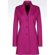 Emporio Armani Single-Breasted Coat (€405) ❤ liked on Polyvore featuring outerwear, coats, purple, purple coats, emporio armani, single-breasted trench coats, long sleeve coat and neoprene coat