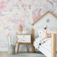 Wallpaper PRIM BLUSH Floral Pink Nursery Décor - 182 inches / 90 inches