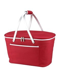 Red picnic basket cooler:  Thermal shield insulated picnic basket to keep food and drinks at the perfect temperature for hours. Constructed with a sewn in lightweight aluminum frame and handles. Leak proof, with a food safe lining. Zippered lid, padded hand grip, and front pocket.