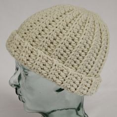 Unisex crochet fisherman's style beanie hat made by CrochetCrunch