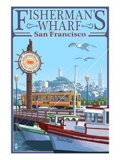 San Francisco, California - Fisherman's Wharf - Lantern Press Artwork (Art Print Available) Fisherman's Wharf San Francisco, San Francisco California, City Poster, Photo Vintage, Vintage Pink, Vintage California, Vintage Hawaii, California Coast, Thinking Day