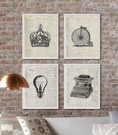 Four Dictionary Page Art Prints Vintage Decor by CocoAndJamesHome